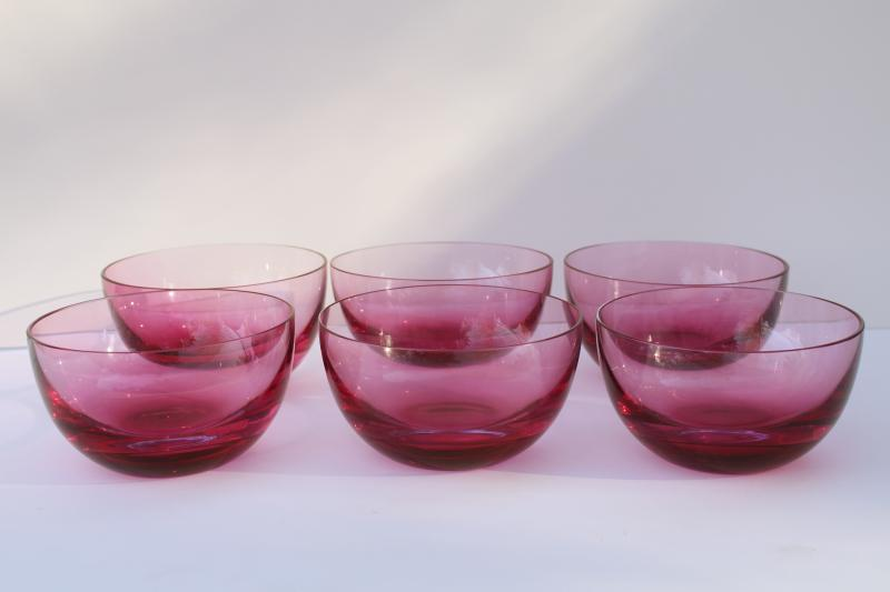set of six vintage cranberry glass bowls, weighted bottom hand blown glass