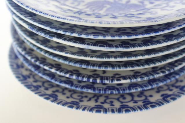 set of small plates, phoenix birds vintage Japan blue & white hand painted china