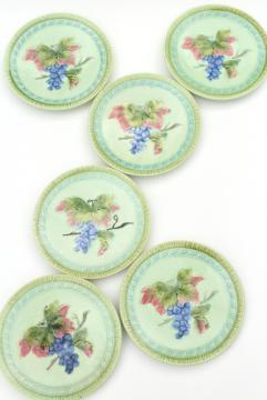 set of vintage Black Forest art pottery plates, majolica grapes, grape leaf & vine