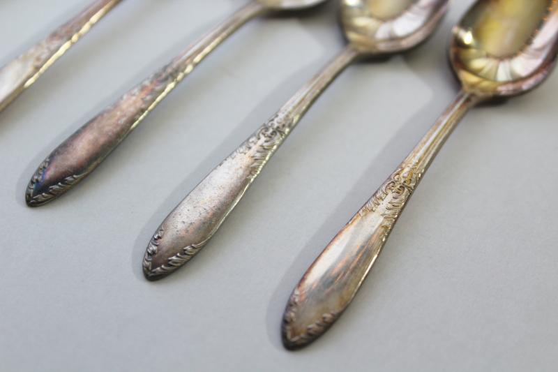 set of vintage demitasse spoons, tiny teaspoons King Edward National Silver