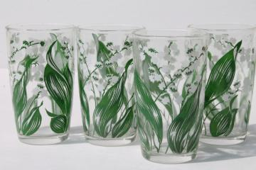 set of vintage juice size drinking glasses w/ lily of the valley flowers