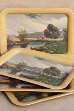 set of vintage metal trays w/ Frederick Ogden landscape scene art prints