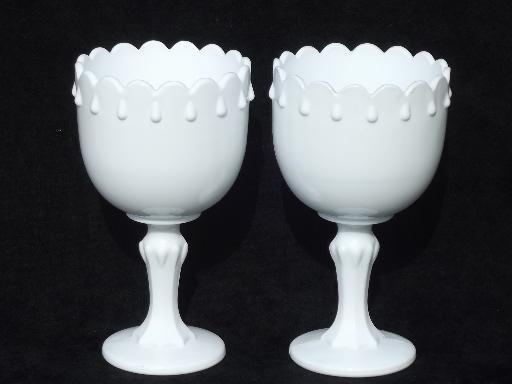 Set of vintage milk glass centerpiece flower stands