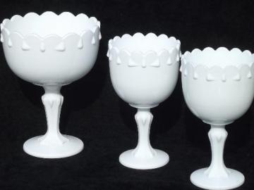 set of vintage milk glass centerpiece flower stands, garland pattern bowls