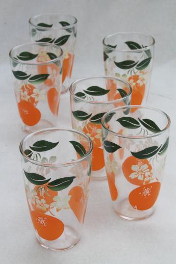 Set Of Vintage Orange Print Juice Glasses Retro Swanky