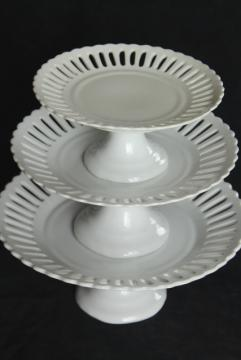 set pure white china cake stands, modern ironstone dessert pedestal plates graduated sizes