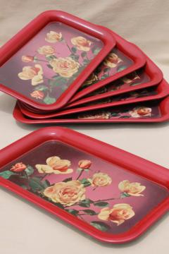 set vintage metal trays w/ rose bouquets, retro 40s 50s tinted photo print