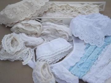 sewing trim lot, ruffled eyelet edgings, gathered ruffle eyelet lace trims