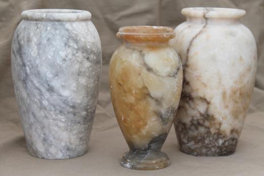 Shabby Italian Marble Alabaster Vases Vintage Carved Stone Urns