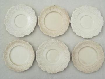 shabby antique English creamware china plates, Old Bristol - England