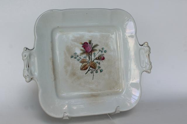 shabby antique English ironstone moss rose Fenton pattern square cake plate or tray