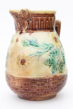 shabby antique Etruscan majolica milk jug or cream pitcher, wild rose
