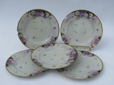 shabby antique Hand Painted Nippon china plates, violets floral