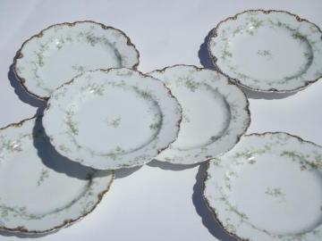 shabby antique Haviland Limoges floral china scalloped salad plates