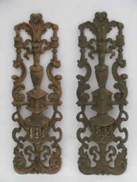 shabby antique architectural moldings, old distressed wood composition