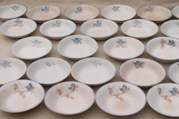 shabby antique bluebird china berry bowls, mismatched vintage china w/ blue birds