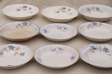shabby antique bluebird china bowls, mismatched vintage china w/ blue birds