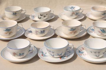 shabby antique bluebird china cups & saucers, mismatched vintage china w/ blue birds