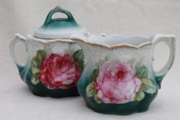shabby antique china cream & sugar set w/ pink on green cabbage rose floral
