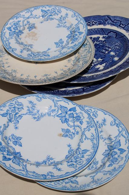 shabby antique china plates old blue u0026 white transferware willow apple blossom pattern & shabby antique china plates old blue u0026 white transferware willow ...