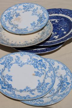 shabby antique china plates, old blue & white transferware, willow, apple blossom pattern