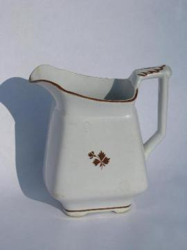 shabby antique copper luster Tea Leaf pattern ironstone china milk pitcher