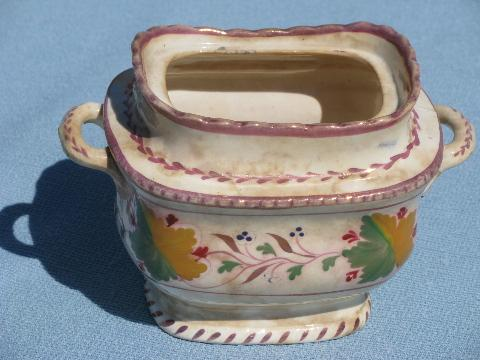 shabby antique copper luster china cube sugar bowl, mid 19th century