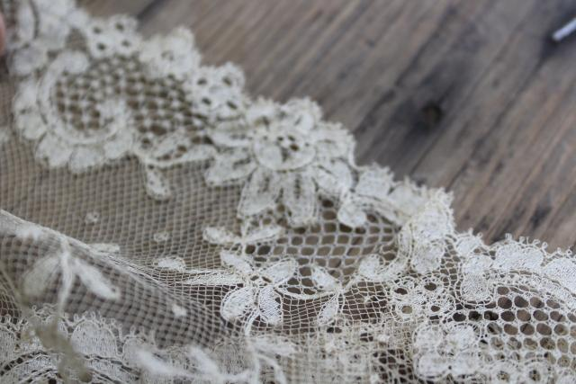 shabby antique ecru silk lace flounce, wide lace edging, 1800s vintage French lace
