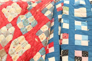 shabby antique red white blue patchwork quilts w/ 1800s print calico, shirting fabrics