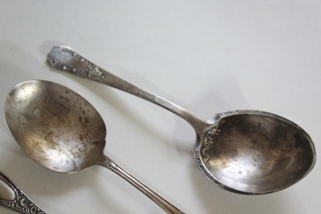 shabby antique silver, large ornate berry scoop serving spoons, vintage silverplate flatware