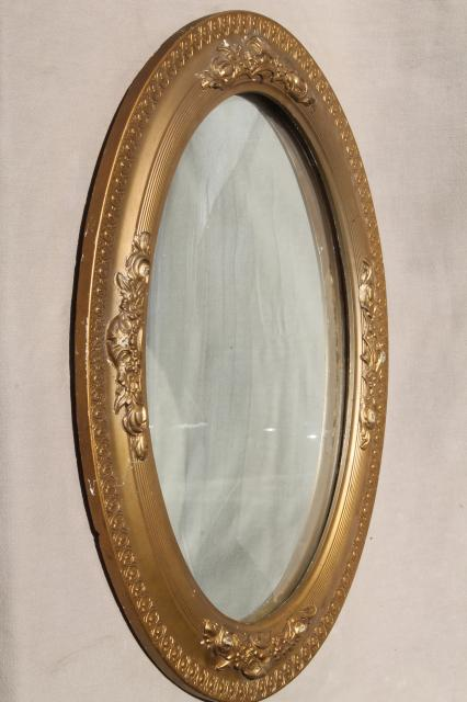 shabby antique silvered glass fisheye mirror, convex bubble glass in ...
