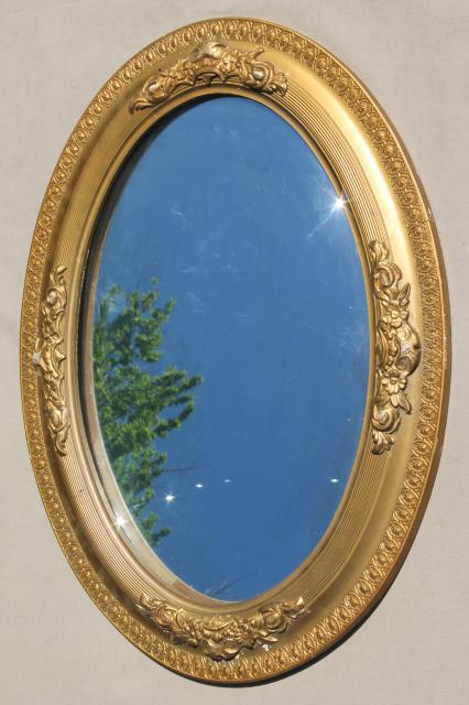 Shabby Antique Silvered Glass Fisheye Mirror Convex Bubble In Old Gold Frame