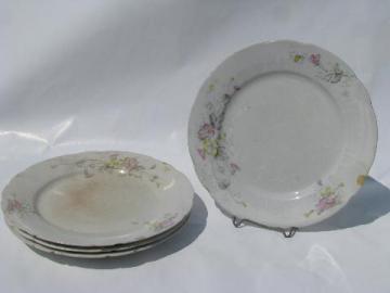 shabby antique transferware ironstone china plates, pink & yellow flowers