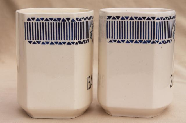 shabby antique vintage blue & white china canister jars, kitchen pantry canisters