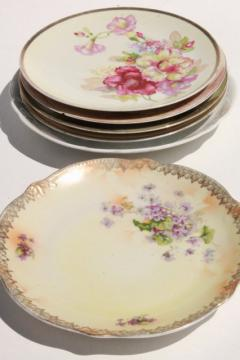 shabby antique vintage china plates w/ hand painted flowers, instant collection