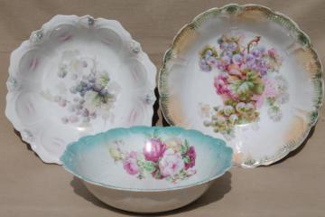 shabby antique vintage china serving dishes, large salad bowls w/ flowers & fruit