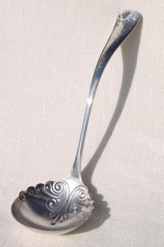 shabby antique vintage silver soup ladle or serving spoon, tarnished silverplate w/ monogram