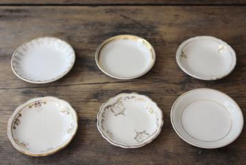 shabby antique white china butter pats w/ worn gold, collection of tiny plates different patterns