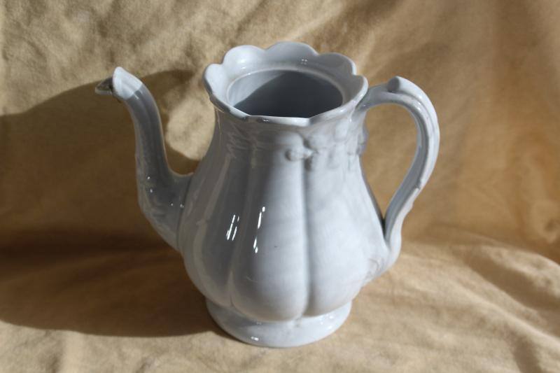 shabby antique white china teapot, wheat & bramble berry embossed ironstone