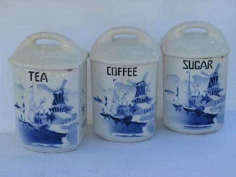 Shabby Blue White China Antique Kitchen Canister Coffee Tea Jars Vintage Czech