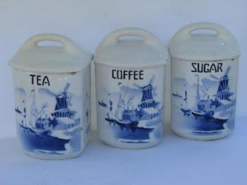 shabby blue & white china, antique kitchen canister coffee & tea jars, vintage Czech