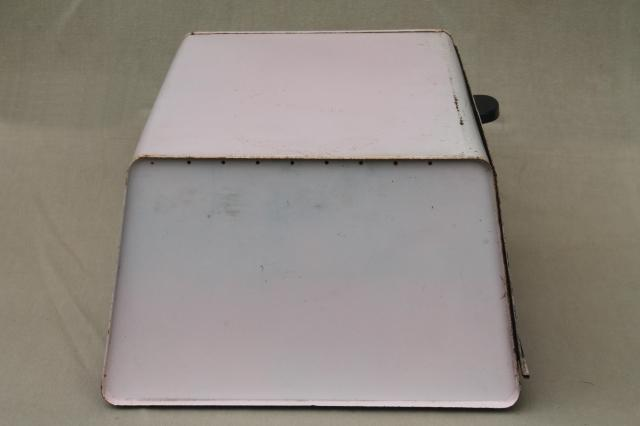 shabby chic pink vintage metal bread box for country cottage kitchen