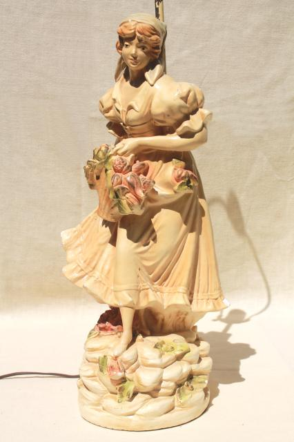 Shabby Chic Vintage Chalkware Statue Table Lamp