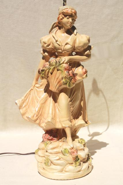Shabby Chic Vintage Chalkware Statue Table Lamp  Shepherdess Girl W   Flowers