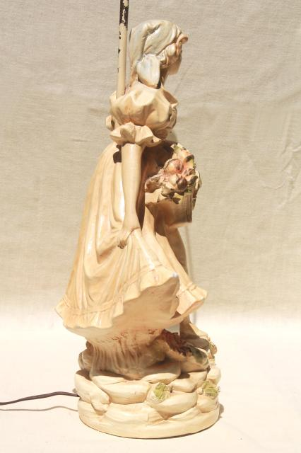shabby chic vintage chalkware statue table lamp, shepherdess girl w/ flowers