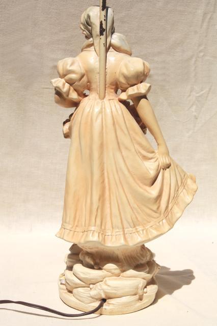 Shabby Chic Vintage Chalkware Statue Table Lamp, Shepherdess Girl W/ Flowers