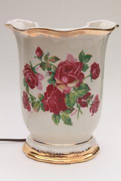 shabby chic vintage china table lamp, ivy flower vase backlit TV lamp or boudoir light