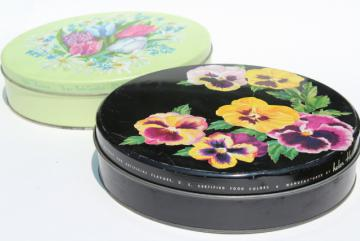 shabby chic vintage flowered metal tins, 1940s 50s vintage candy or cookie tins