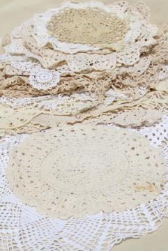 shabby chic vintage lace doilies & centerpieces, crochet doily lot