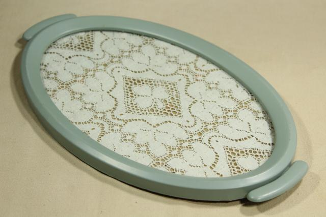 shabby chic vintage lace tray w/ robin's egg blue metal frame, vanity perfume tray